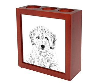 Cockapoo - Wooden stand for candles/pens with the image of a dog ! NEW COLLECTION!