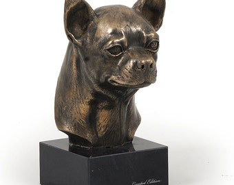 Chihuahua (smooth), dog marble statue, limited edition, ArtDog. Made of cold cast bronze. Solid, perfect gift. Limited edition.