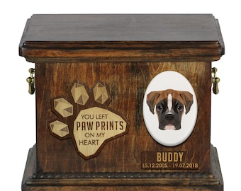 Urn for dog ashes with ceramic plate and sentence - Geometric Boxer, ART-DOG. Cremation box, Custom urn.