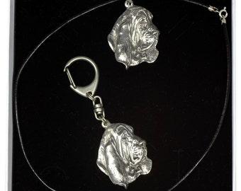 NEW, Basset Hound, dog keyring and necklace in casket, ELEGANCE set, limited edition, ArtDog . Dog keyring for dog lovers
