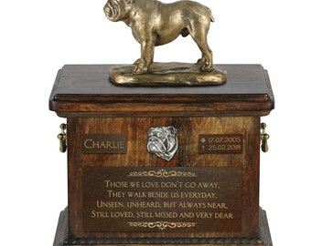 English Bulldog - Exclusive Urn for dog ashes with a statue, relief and inscription. ART-DOG. Cremation box, Custom urn.