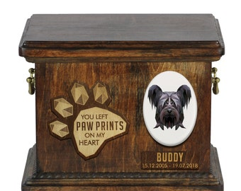 Urn for dog ashes with ceramic plate and sentence - Geometric Skye Terrier, ART-DOG. Cremation box, Custom urn.