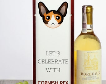 Let's celebrate with Cornish Rex cat. A wine box with the cute Art-Dog cat