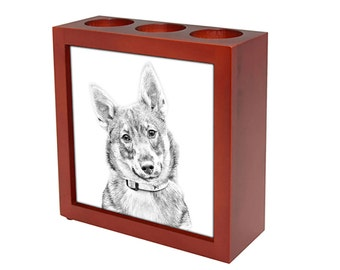 Swedish Vallhund - Wooden stand for candles/pens with the image of a dog ! NEW COLLECTION!