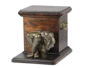 Urn for dog's ashes with a standing statue -Bulldog, English Bulldog, ART-DOG Cremation box, Custom urn.