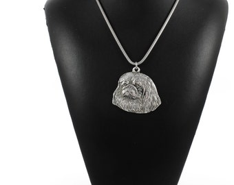 NEW, Pekingese, dog necklace, silver cord 925, limited edition, ArtDog