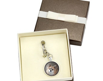 Chihuahua long haired. Keyring, keychain with box for dog lovers. Photo jewellery. Men's jewellery. Handmade.