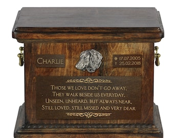 Urn for dog's ashes with relief and sentence with your dog name and date - Dachshund longhaired, ART-DOG. Cremation box, Custom urn.