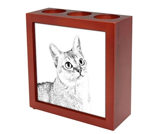 Singapura cat - Wooden stand for candles/pens with the image of a cat ! NEW COLLECTION!