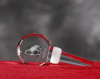 Burmese Cat, Crystal Wine Stopper with cat, Wine and Cat Lovers, High Quality, Exceptional Gift. New Collection