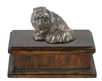 Exclusive Urn for cat's ashes with a Persian Cat statue, ART-DOG. New model Cremation box, Custom urn.