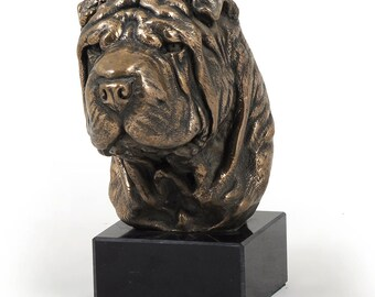Shar Pei, dog marble statue, limited edition, ArtDog. Made of cold cast bronze. Solid, perfect gift. Limited edition.