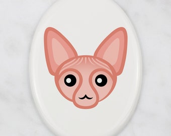 A ceramic tombstone plaque with a Sphynx cat. Art-Dog cute cat