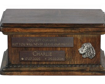 Urn for dog's ashes with relief and sentence with your dog name and date - English Springer Spaniel, ART-DOG. Low model.
