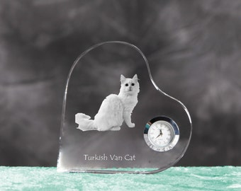 Turkish Van- crystal clock in the shape of a heart with the image of a pure-bred cat.