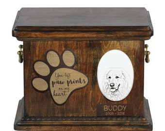 Urn for dog's ashes with ceramic plate and description - Great Pyrenees, ART-DOG Cremation box, Custom urn.