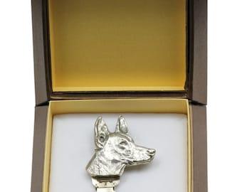 NEW, Pharaoh Hound, dog clipring, in casket, dog show ring clip/number holder, limited edition, ArtDog
