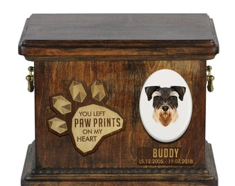 Urn for dog ashes with ceramic plate and sentence - Geometric Schnauzer, ART-DOG. Cremation box, Custom urn.