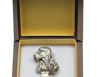 NEW, English Cocker Spaniel, dog clipring, in casket, dog show ring clip/number holder, limited edition, ArtDog