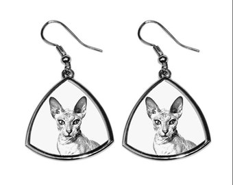 Peterbald, collection of earrings with images of purebred cats, unique gift. Collection!