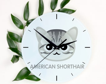 A clock with a American shorthair cat. A new collection with the cute Art-Dog cat