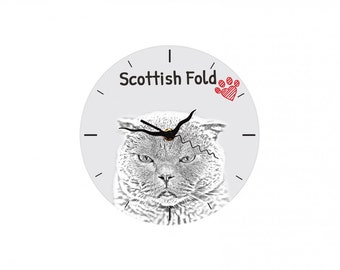 Scottish Fold, Free standing MDF floor clock with an image of a cat.