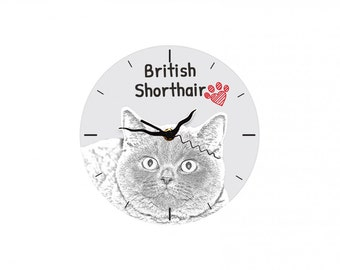British Shorthair, Free standing MDF floor clock with an image of a cat.