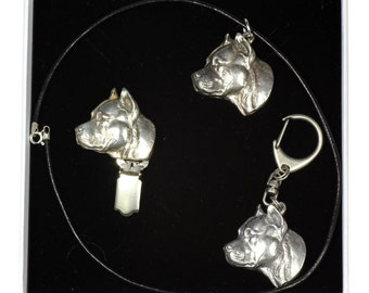 NEW, American Staffordshire Terrier, dog keyring, necklace and clipring in casket, ELEGANCE set, limited edition, ArtDog