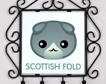 A key rack, hangers with Scottish Fold cat. A new collection with the cute Art-dog cat