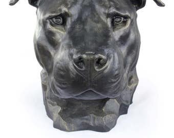 Urn for dog ashes - American Staffordshire Terrier, Amstaff cropped statue. ArtDog Collection Cremation box, Custom urn.