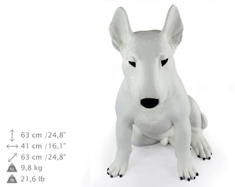 Bullterrier (sitting), white, dog natural size statue, limited edition, ArtDog