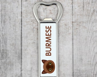 A beer bottle opener with a Burmese cat. A new collection with the cute Art-Dog cat