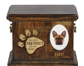 Urn for dog ashes with ceramic plate and sentence - Geometric French Bulldog, ART-DOG. Cremation box, Custom urn.
