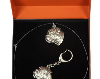 NEW, Bullmastiff, dog keyring and necklace in casket, PRESTIGE set, limited edition, ArtDog . Dog keyring for dog lovers