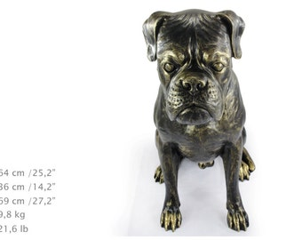 Boxer (sitting), dog natural size statue, limited edition, ArtDog