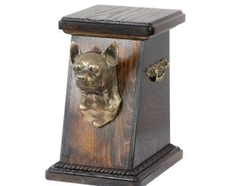 Urn for dog's ashes with a Chihuahua statue, ART-DOG Cremation box, Custom urn. Cremation box, Custom urn.