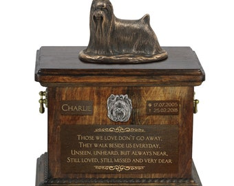 Yorkshire Terrier - Exclusive Urn for dog ashes with a statue, relief and inscription. ART-DOG. Cremation box, Custom urn.