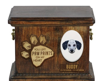 Urn for dog ashes with ceramic plate and sentence - Geometric Dalmatian, ART-DOG. Cremation box, Custom urn.