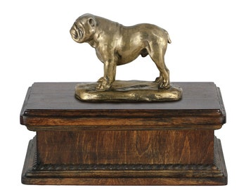 Exclusive Urn for dog's ashes with a English Bulldog new model with tail statue, ART-DOG. New model Cremation box, Custom urn.