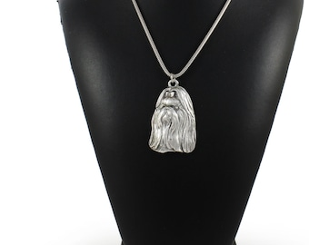 NEW, Shih-Tzu longhaired (with ribbon), dog necklace, silver chain 925, limited edition, ArtDog
