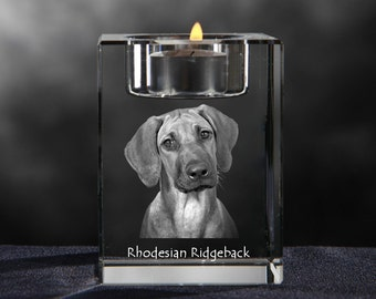 Rhodesian Ridgeback, crystal candlestick with dog, souvenir, decoration, limited edition, Collection