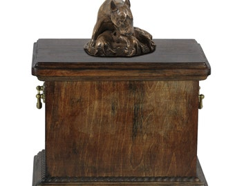Urn for dog's ashes with a Bull Terrier mum statue, ART-DOG Cremation box, Custom urn.