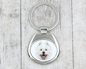 A key pendant with a Samoyed dog. A new collection with the geometric dog . Dog keyring for dog lovers