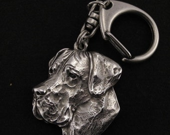 Deutsche Dogge (uncropped), Great Dane, dog keyring, keychain, limited edition, ArtDog . Dog keyring for dog lovers