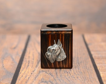 Schnauzer - Wooden candlestick with dog, souvenir, decoration, limited edition, Collection