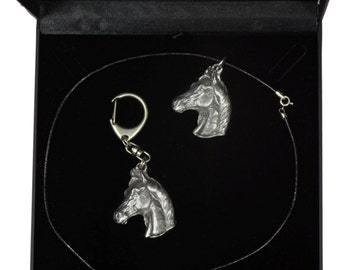 NEW, Arabian Horse, horse keyring and necklace in casket, DELUXE set, limited edition, ArtDog