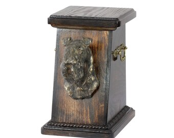 Urn for dog's ashes with a Kerry Blue Terrier statue, ART-DOG Cremation box, Custom urn. Cremation box, Custom urn.