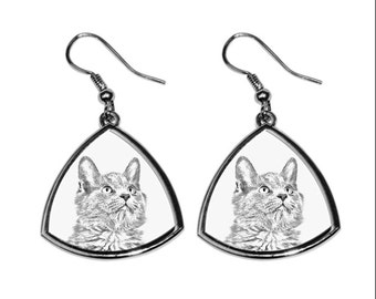 Nebelung, collection of earrings with images of purebred cats, unique gift. Collection!