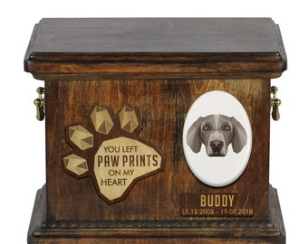 Urn for dog ashes with ceramic plate and sentence - Geometric Weimaraner, ART-DOG. Cremation box, Custom urn.