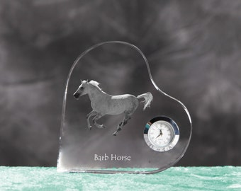 Barb horse- crystal clock in the shape of a heart with the image of a pure-bred horse.